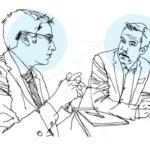 Ilustración de los profesores que realizan el pódcast sobre IA y Derecho de la Universidad de Columbia