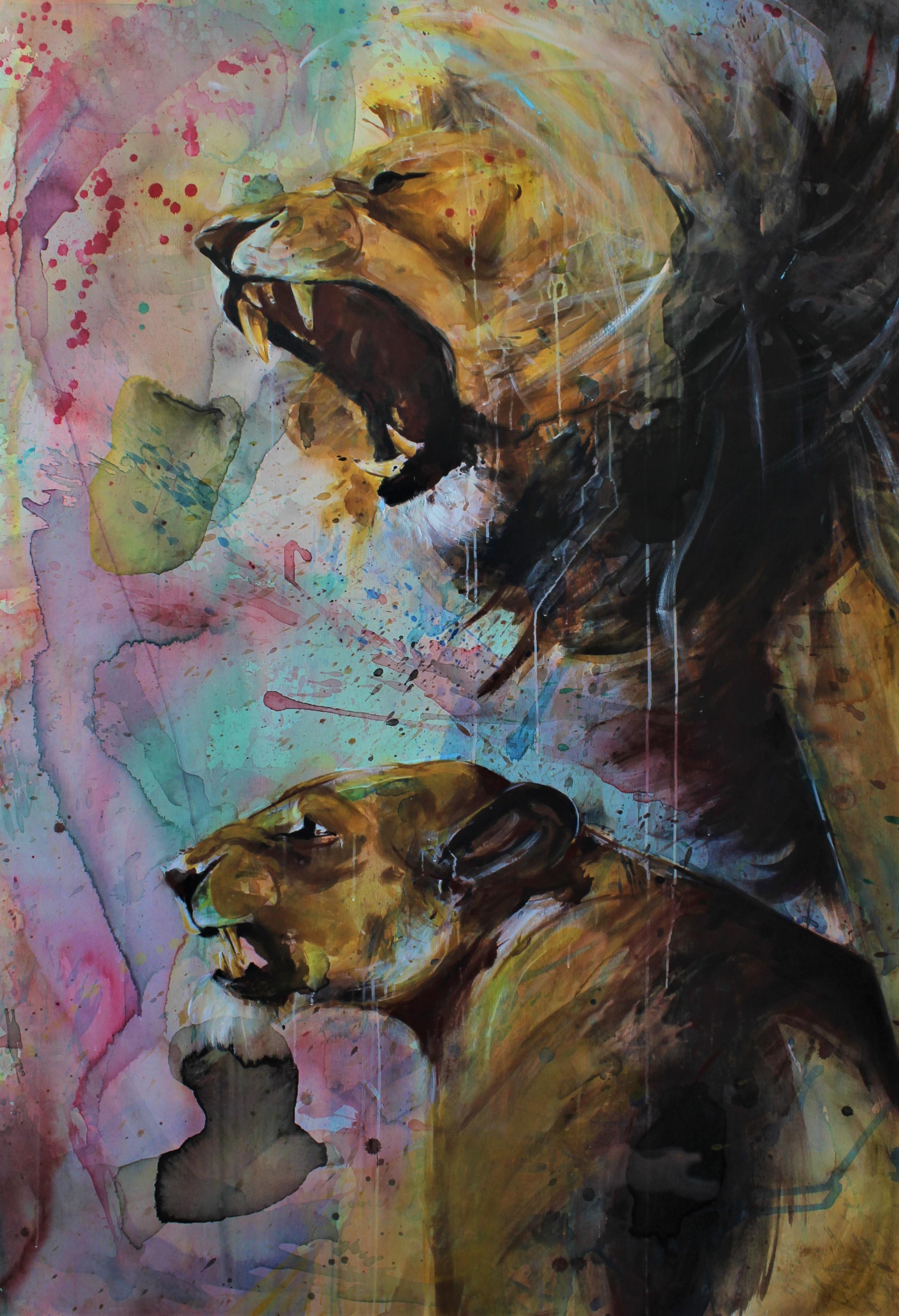 Sara Gutiérrez Melián, Díptico, 200 x 130 cm, óleo sobre lienzo. 2019
